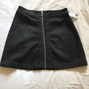 Black zipper front skirt